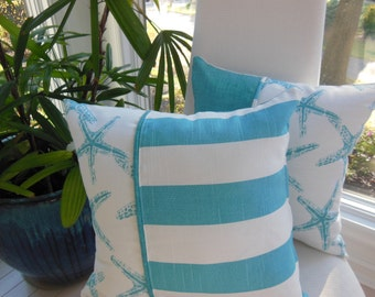 Starfish Pillow - Coastal Blue Pillow - Striped Pillow - Reversible 15 x 15 Inch - Coastal Blue and White Pillow - Starfish and Stripes