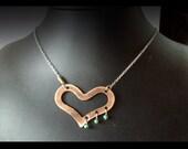 Copper & Turquoise Heart Pendant