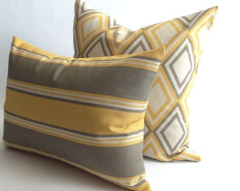YELLOW, TAUPE and linen (colour) decorative pillow cover - SALE