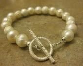 pearl bracelet, wedding bracelet, bridal jewelry, pearl jewelry, stardust, sterling silver jewelry, gift for mom, wedding gift, baby shower