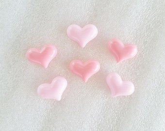 10pcs - Pretty Pink Pastel Milky Hearts Decoden Cabochons (16x12mm) HRT10003