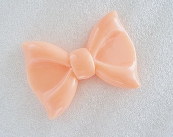 1pc - XL Peach Pink Bow Decoden Cabochon (60x44mm) BL10007