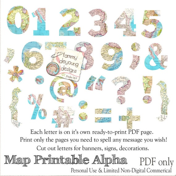 Map Banner Garland Printable World Map Alphabet Letters For