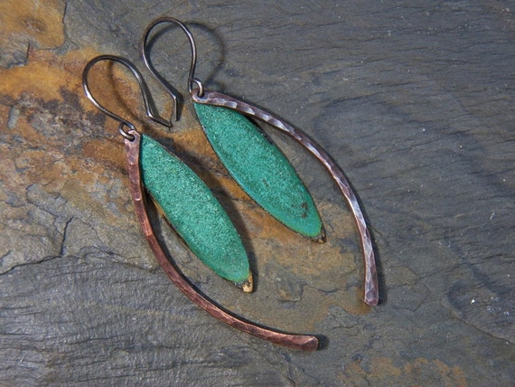 SUMMER SALE - Verdigris  Leaf and Stem Earrings - Hand crafted Copper with Patina  - dangles
