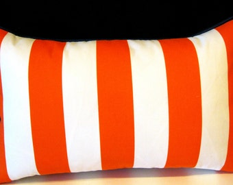 Orange white blue trim  Sundeck outdoor pillow cover 12 X 20