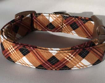 Mad for Plaid Brown Black & White Dog Collar Size XS, S, M or L