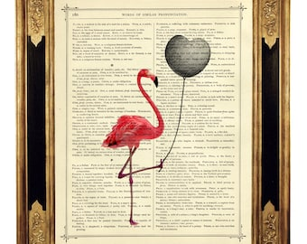Pink Flamingo holding a black Heart Balloon Valentine's Day - Vintage Victorian Book Page Art Print Steampunk