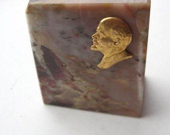 Soviet Era Desktop Souvenir - Jasper Stone LENIN Gold Gilded Bas-relief USSR ***
