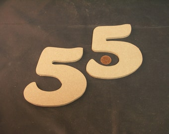 """Hand Cut Alphabets-Numbers, Pack of 2 """"5"""", 4.75"""" Tall, Blank, Ready for your art work"""