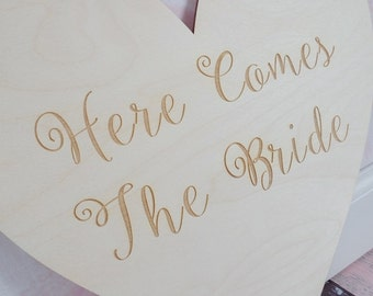 Here Comes The Bride Heart Wood Heart Engraved Here Comes The Bride Sign Rustic Wedding Sign Barn Wedding #DownInTheBoondocks