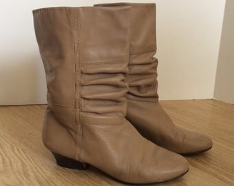 Vintage Nude Calf high Boots