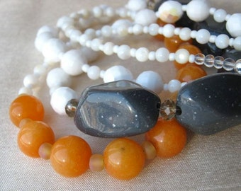 Orange sorbet, grey and white necklace and earrings set - ADJUSTABLE, double-strand, fresh, happy