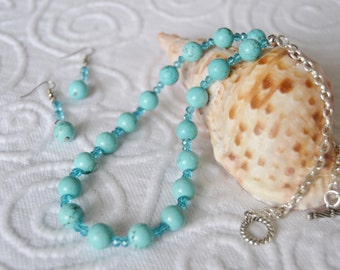 Turquoise Magnesite Necklace and Earrings Set Teal Czech Glass and Turquoise