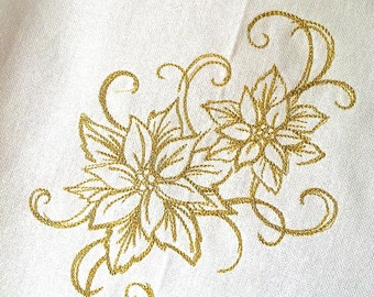 Christmas Poinsettias embroidered towel