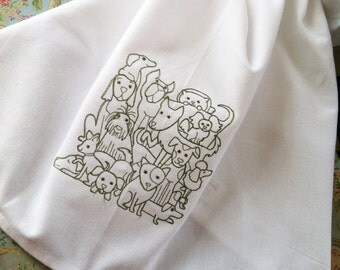 A big pile of puppies and dogs embroidered towel