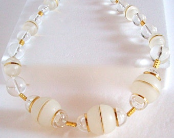 Vintage Acrylic Chunky Beaded Necklace Retro 60s