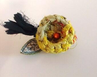 Recycled sari silk crochet flower brooch with liberty print leaf