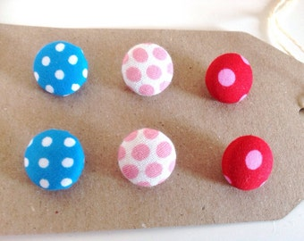 Mixed spotty fabric covered button pack