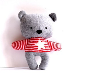 Teddy bear softie stuffed animal stuffed bear rag doll bear soft toy plushie softie handmade toy grey red white stripes star 25 cm 9.8""