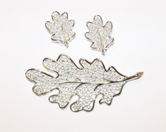 Brooch and Earrings Set Leaves Sarah Coventry Silver Tone Vintage Wedding Bridal Party Jewelry Jewellery  Gift Guide Women