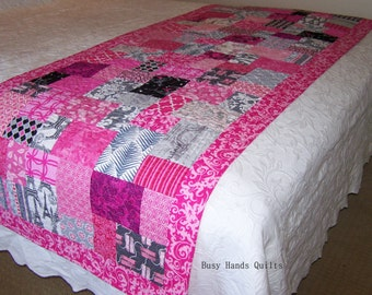 Modern Quilt, Baby Girl Quilt, Bed Runner, Pink, Gray, Blanket, Paris, French, Eiffel Tower, Quilts For Sale, Made to Order, BusyHandsQuilts