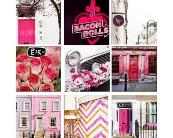 Large London art print set, London photo collection, Pink London wall art photography set