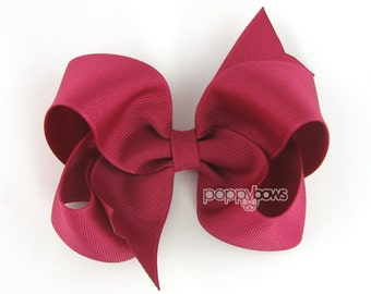 Fuchsia Hair Bow - 4 Inch Bows - Baby Toddler Girl Hairbows Classic Large Boutique Non Slip Alligator Clips Dark Raspberry