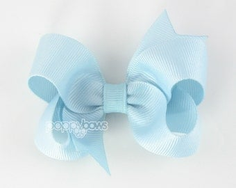 Pale Blue 3 Inch Boutique Hair Bow - Baby Toddler Girl - Solid Color Hair Clip - Pale Light Blue