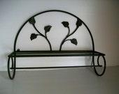 olive green metal wall rack . ivy floral wall hanging . metal shelf . shabby rack . green home decor . metal organizer . shabby green shelf