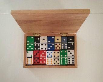 eclectic set of dominoes . retro games . complete set of dominoes . assorted dominoes . vintage dominoes . retro decor . game room decor