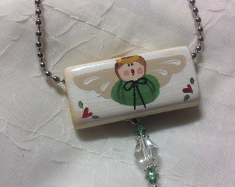 Hand painted green angel with hearts on a ball chain