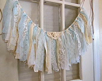 blue lace banner, vintage home decor, window valence, party prop, smash cake, nursery, 29 X 11