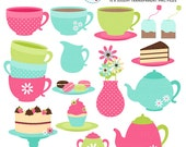 Tea Party Clipart Set - clip art set of teacups, teapots, tea, cakes, party, drinks - personal use, small commercial use, instant download