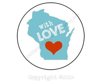 "With Love - Wisconsin Envelope seals- Stickers - 16 white round labels/seals 1.2"""