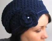 Winter navy blue hat with romantic flower, Crochet hat, Women winter hat, Elegant crochet hat, Winter Accessories