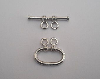 2 Solid Sterling Silver 925 Toggle clasp (2 strands)