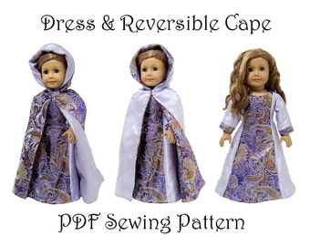Dress and Hooded Cape Sewing Pattern 18 inch Doll pattern PDF