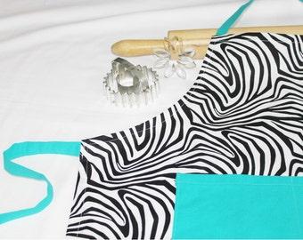 Zebra and Turquoise Youth Size Apron