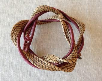 Burgundy Twist pine needle sculpture