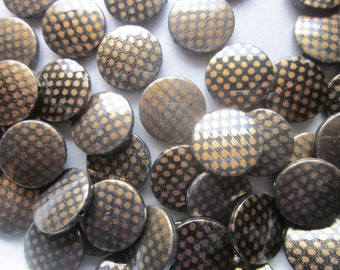 Brown Spotted Acrylic Beads Coin Plastic 21mm 12 Beads