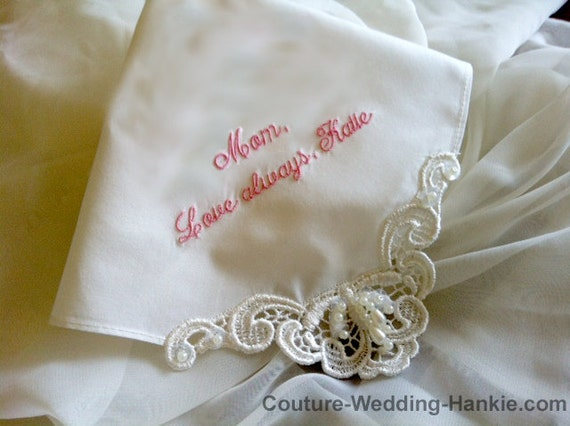 Personalized Handkerchief Ivory Mother of the Bride Gift from Daughter ...