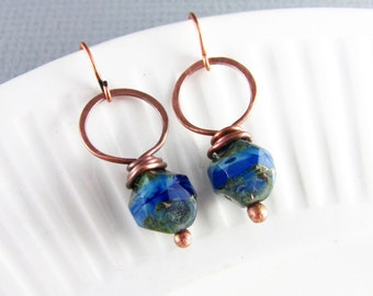 Wire Wrapped Earrings Sapphire Earrings Copper Wire Wrap Jewelry Hoop Earrings Copper Earrings