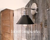 "Wall Lighting Sconce with 7"" Flat Black Shade"