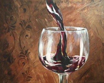 "Recreateable Payment Plan Available 18x24x1.5"" Wine Pouring Original Acrylic Painting"