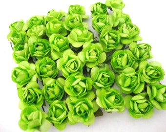 Mini Apple Green Mulberry Paper Roses Flowers - 4 Bunches
