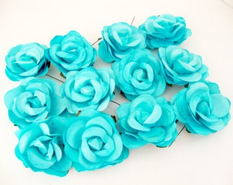 Aqua Blue Mulberry Paper Roses Flowers Large