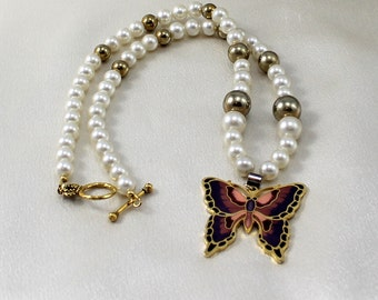 Vintage Faux Pearl Necklace with Butterfly Pendant.  Rich Elegant.  Gift Idea.