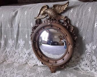 Syroco Vintage Federal mirror, resin mirror vintage 1970s, round mirror convexed mirror