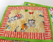 Beach Cats-Mug Rugs-Set of 4-Free Shippping to US and Canada