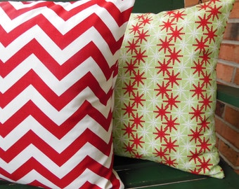 Red Green Pillows Decorative Throw Pillow Christmas Holiday Cushion Covers Red Chevron Couch Pillow Home Decor Sofa Pillow Accent Cushion